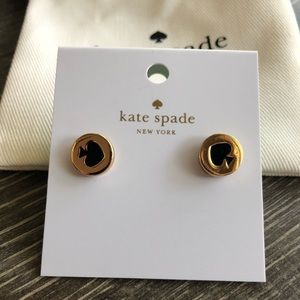 kate spade gold and black enamel stud earrings
